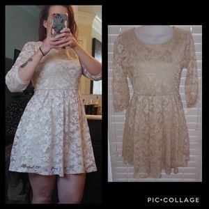 Forever 21 lace mini dress fit and Flare cream